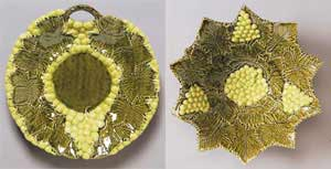 Green Majolica Platter and Bowl